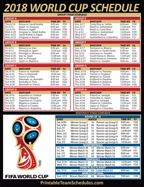 2018 World Cup Soccer TV Schedule   Mountain Time