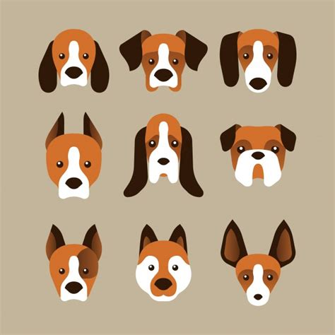 A set of dog face variants in flat style Vector | Free ...