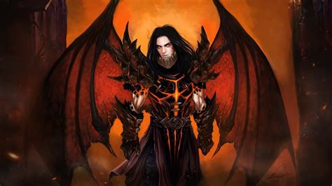 art demon wings armour man HD wallpaper
