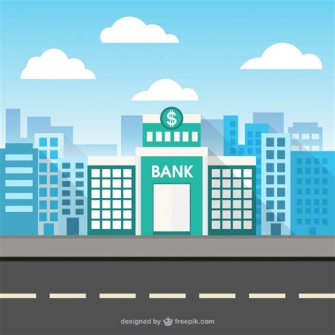 Bank building in city space Vector | Free Download
