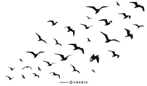 Birds flock silhouette collection   Vector download