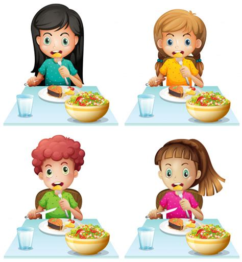 Boy and girls eating at the dining table Vector   Free ...