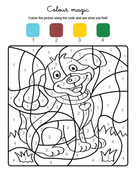 Colour by numbers: un perrito: Dibujos para colorear