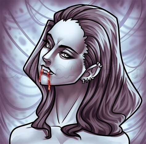 Drawing a Girl Vampire Face, Step by Step, Vampires ...