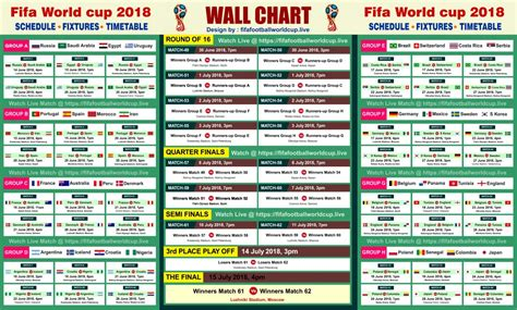 Fifa World cup 2018 Free Wallchart Download & Track 64 Matches