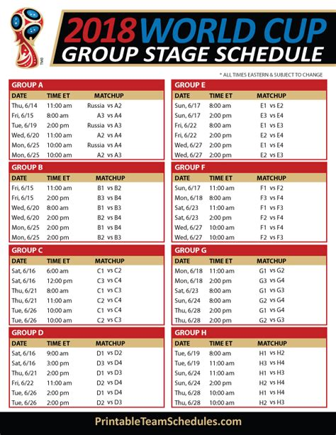 Fifa world cup 2018 schedule | 2018 Calendar printable for ...