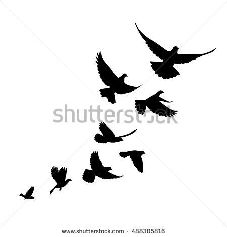 Flock Of Birds clipart bird silhouette   Pencil and in ...