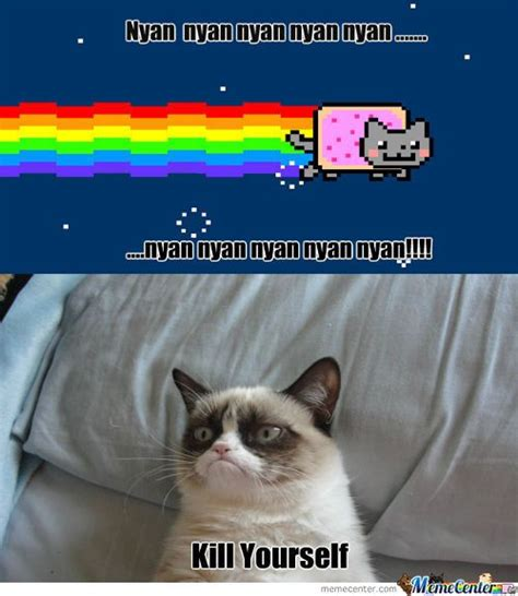 Girl On Fire Grumpy Cat | Nyan Cat And Grumpy Cat Meet ...