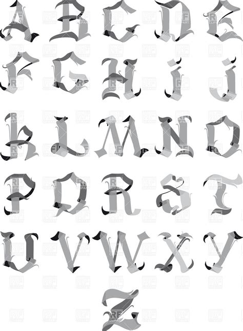 Grey gothic alphabet letters Royalty Free Vector Clip Art ...