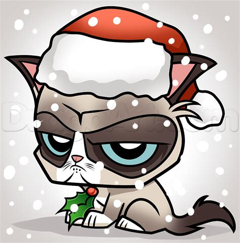 How to Draw Christmas Grumpy Cat, Step by Step, Christmas ...