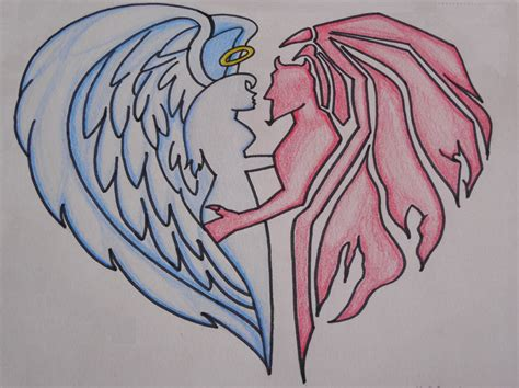 Lovers Angel And Demon Drawing   Crochetamommy © 2018 ...