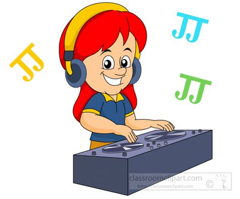 Music : girl dj using record turntables to play music ...