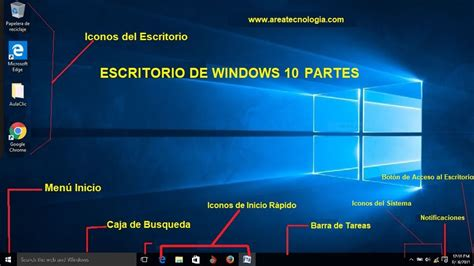 Partes del Escritorio de Windows 10, XP y ME