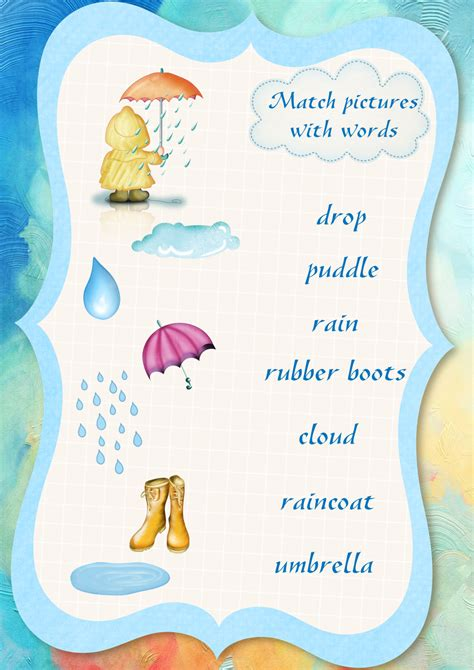 Rainy Weather Vocabulary Worksheet Pictures