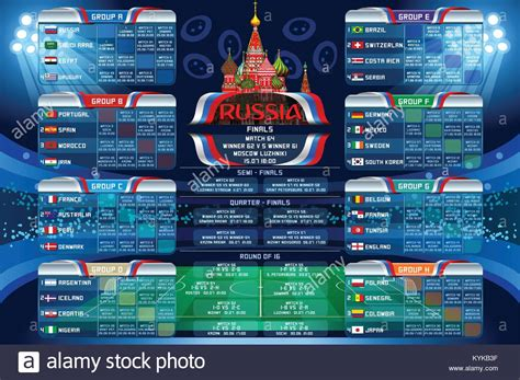Russia 2018 world cup calendar. Soccer schedule table ...