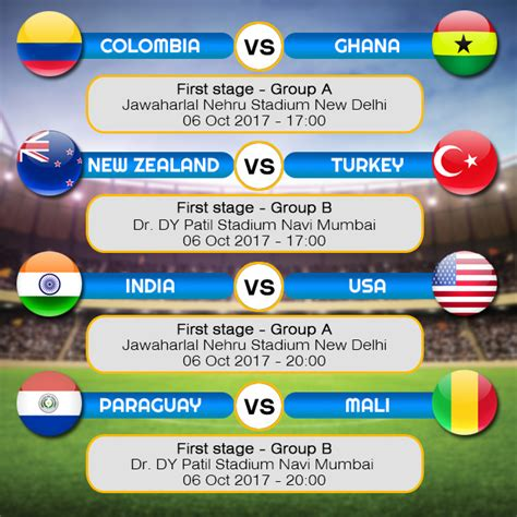 Schedule of matches for FIFA Under 17 World Cup 2017 ...