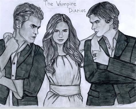 The Vampire Diaries drawing  fanart...... stefan, elena ...