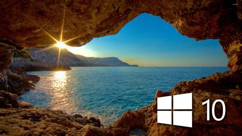 Windows 10 over the cave simple logo wallpaper   Computer ...